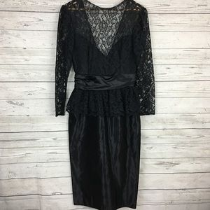 Gunne Sax 80s lace satin peplum bow tie dress